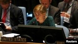 Постоянный представитель США Саманта Пауэр обращается к Совету Безопасности ООН во время встречи в штаб-квартире ООН в Нью-Йорке. 29 августа 2013 Архивно-иллюстративное фото.