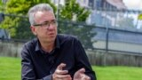 Czech Republic Prague Aleksei Eliseev giving interview to Azattyk August 2019