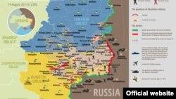 19 август куни Украина шарқидаги вазият акс этган харита.