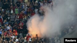 Russian supporters celebrate after beating Czech Republic 4-1 during their Group A Euro 2012 match in Wroclaw on June 8.