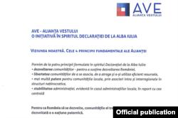 Detaliu de pe prima pagină a Protocolului de cooperare AVE