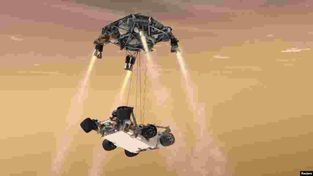Animacija manevra slijetanja rovera Curiosity