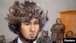 Джохар Царнаев, обвиняемый в организации теракта на финише Бостонского марафона. Зарисовка из зала суда. Бостон, 18 декабря 2014 года.