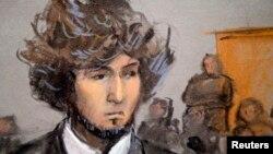 Джохар Царнаєв під час досудового розгляду справи в Бостоні, грудень 2014 року (малюнок із зали суду)