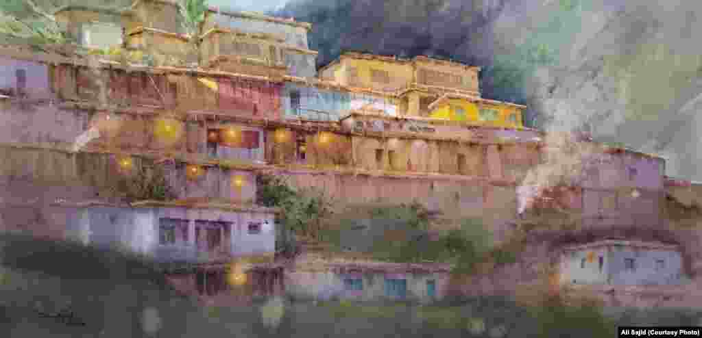 A mountain village in northern Pakistan as imagined by Sajid.