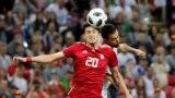 A spanyol Sergio Busquets az Irán elleni mérkőzésen az oroszországi futball-világbajnokságon 2018. június 20-án