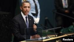 ABŞ prezidenti Barack Obama BMT Baş Assambleyasında çıxışı zamanı. 25 sentyabr 2012