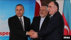 (Left to right): Turkish Foreign Minister Mevlut Cavusoglu, Iranian Foreign Minister Mohammad Javad Zarif and Azerbaijani Foreign Minister Elmar Mammadyarov (file photo)