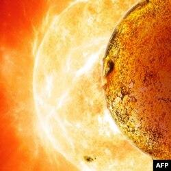 Экзопланета Kepler-78b на фоне звезды, вокруг которой она обращается