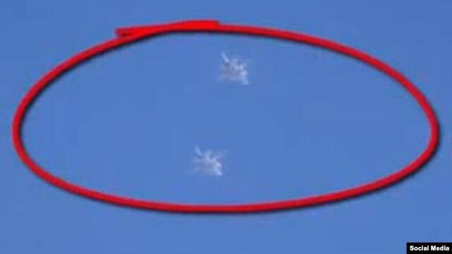 Кадр видеосъемки военных самолетов в сирийском небе – предположительно, российских ВВС