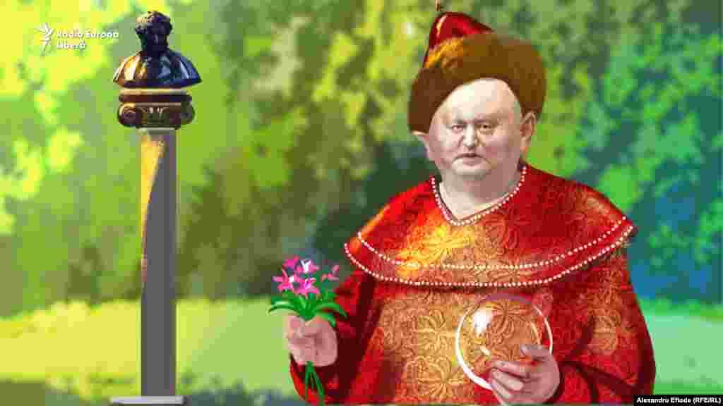 """La A.S. Pușkin, """"țarul Dadon"""" apare în """"Basmul cocoșelului de aur""""."""