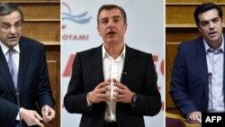 """Грециянын премьер-министри Антонис Самарас, """"Потами"""" партиясынын лидери Ставрос Теодоракис жана СИРИЗА коалициясынын башчысы Алексис Ципрас."""