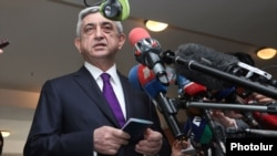 Armenia - President Serzh Sarkisian talks to journalists after casting a ballot vote in municipal elections in Yerevan, 5May2013.