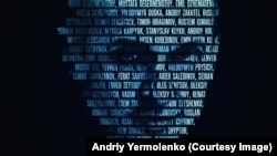 O.Sentsowyň rus türmesindäki ukrain syýasy tussaglaryň atlary ýazylyp çekilen portreti.