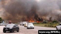 Возгорание камыша в Феодосии, июнь 2017 года