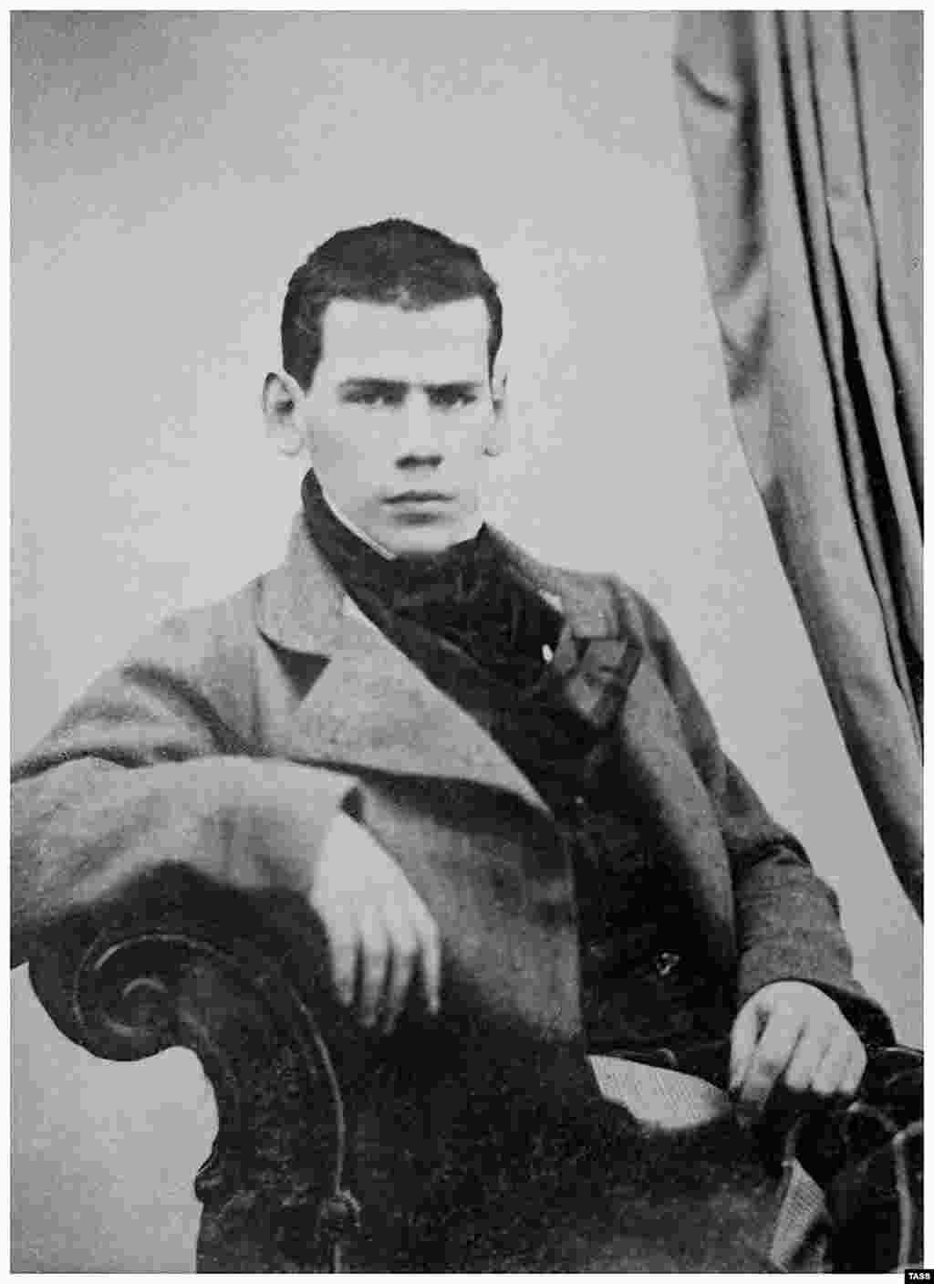 Leo Nikolaevich Tolstoy poses for a portrait at the age of 20. The young nobleman was born into a wealthy rural family in 1828. Both of Tolstoy's parents died when he was a boy.