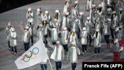 Олимпийские спортсмены из России. Церемония открытия олимпийских игр в Пхенчхане, Южная Корея. 9 февраля 2018 года