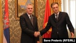 Predsednici Srbije i Crne Gore Tomislav Nikolić i Filip Vujanović u Podgorici, januar 2013.