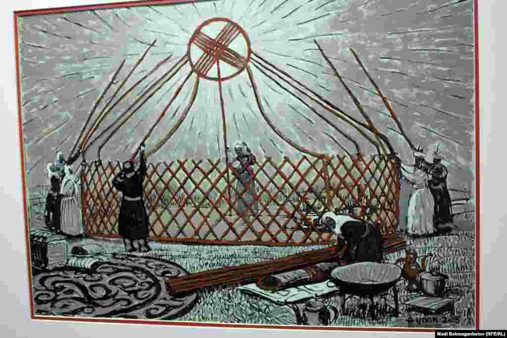 """Суретші А. Уткиннің """"Отбасы"""" картинасы. Астана, 17 қыркүйек 2015 жыл."""