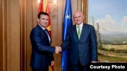 Премиерот Зоран Заев на средба со претседателот на Народното собрание на Бугарија, Димитар Главчев.