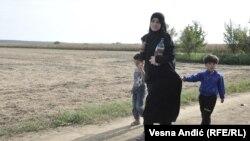 Refugiați în Croația pe un drum lîngă localitatea Tovarnik