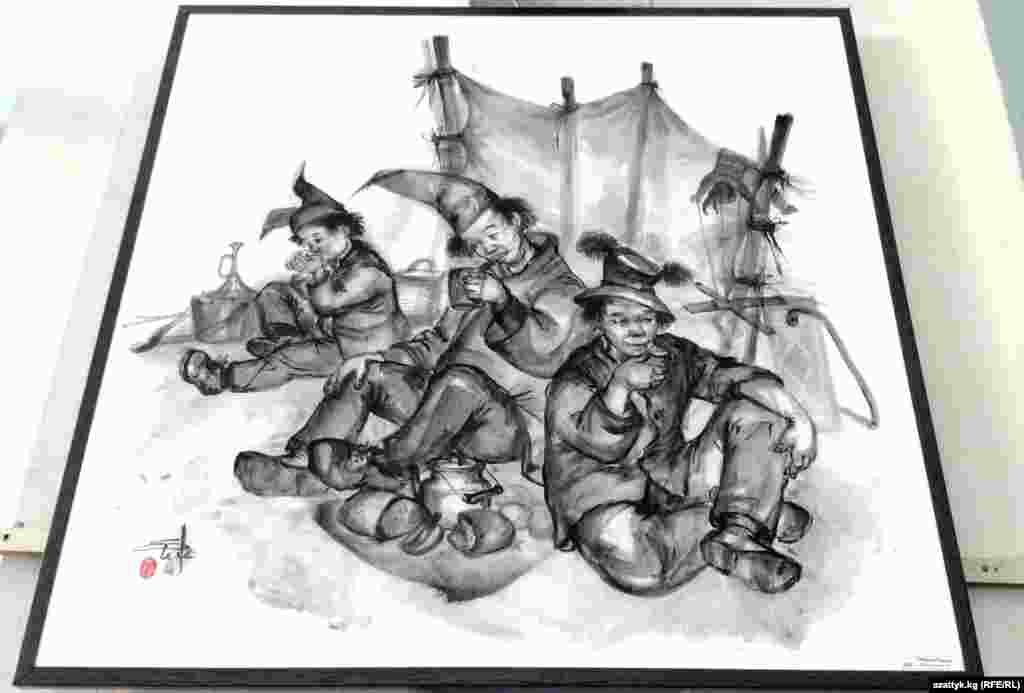 Широкоформатные полотнавыполнены масломв технике живописи и живописи на шелке (тушь, акварель, акрил).