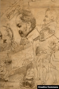 """Павел Федотов. """"Николай I смотрит на Федотова в лупу"""". Набросок, сделанный художником во время пребывания в больнице Всех скорбящих в Петербурге. 1852"""