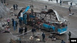 A Volgograd trolley bus after a December 2013 bombing allegedly organized by militant leader Rustam Aselderov.