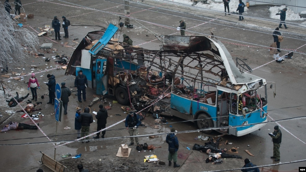 A Volgograd trolleybus after a December 2013 bombing allegedly organized by militant leader Rustam Aselderov.