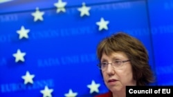 EU foreign policy chief Catherine Ashton at an EU foreign ministers meeting in Brussels in December