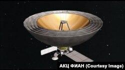 """Схематичное изображение будущего космического телескопа проекта """"Миллиметрон"""""""