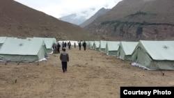 Tajikistan -- Living in tents. Residents Shughnan district of Badakhshan region after floods, 19July2015