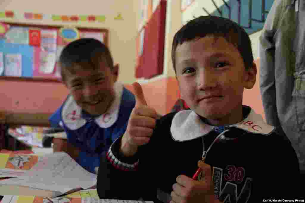 Children at a Turkish-language school in the village of Uluu Pamir. The majority of the Kyrgyz children here don't speak their parents' language.