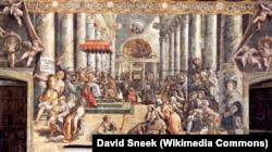 "Freska ""Darovnica cara Konstantina Velikog papi Silvestru I"""
