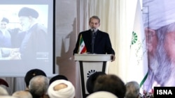 Iranian Parliament speaker Ali Larijani during a visit to Bojnourd in northern Khorasan Province on Wednesday June 12 (ISNA)
