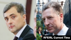 Vladislav Surkov (left) and Kurt Volker are due to meet in Belgrade to discuss the war in Ukraine.