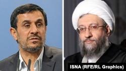 Iran's chief of judiciary Sadeq Larijani (R), and Former Iranian President Mahmoud Ahmadinejad.