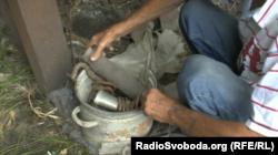 Залишки снарядів на подвір'ї жителя Олександрівська