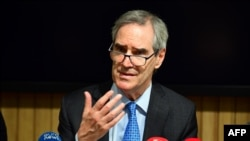 The president and rector of the Central European University, Michael Ignatieff, speaks during a press conference in Budapest last month.