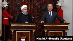 İraq prezidenti Barham Salih iranlı həmkarı Hassan Rohani ilə mətbuat konfransında