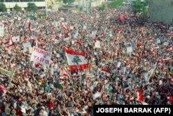 تظاهرات شهروندان شرق بیروت در حمایت از مخالفت میشل عون با توافق طائف
