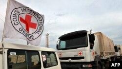 Халықаралық Қызыл крест ұйымының жүк көліктері. Көрнекі сурет.
