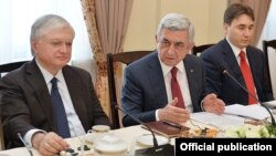 Armenia - President Serzh Sarkisian meets with the Yerevan-based ambassadors of OSCE member states, 18Apr2017.