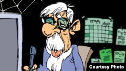 """Cartoon by Nikahang Kowsar, an exiled Iranian cartoonist, showing Mir Hossein Musavi """"10 years from now, writing his 300th statement"""""""