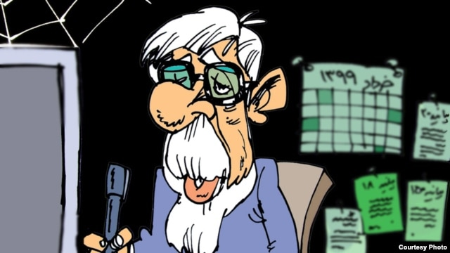 "Cartoon by Nikahang Kowsar, an exiled Iranian cartoonist, showing Mir Hossein Musavi ""10 years from now, writing his 300th statement"""