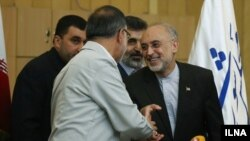 علیاکبر صالحی (راست) در حال دست دادن با علیرضا زاکانی در مجلس شورای اسلامی