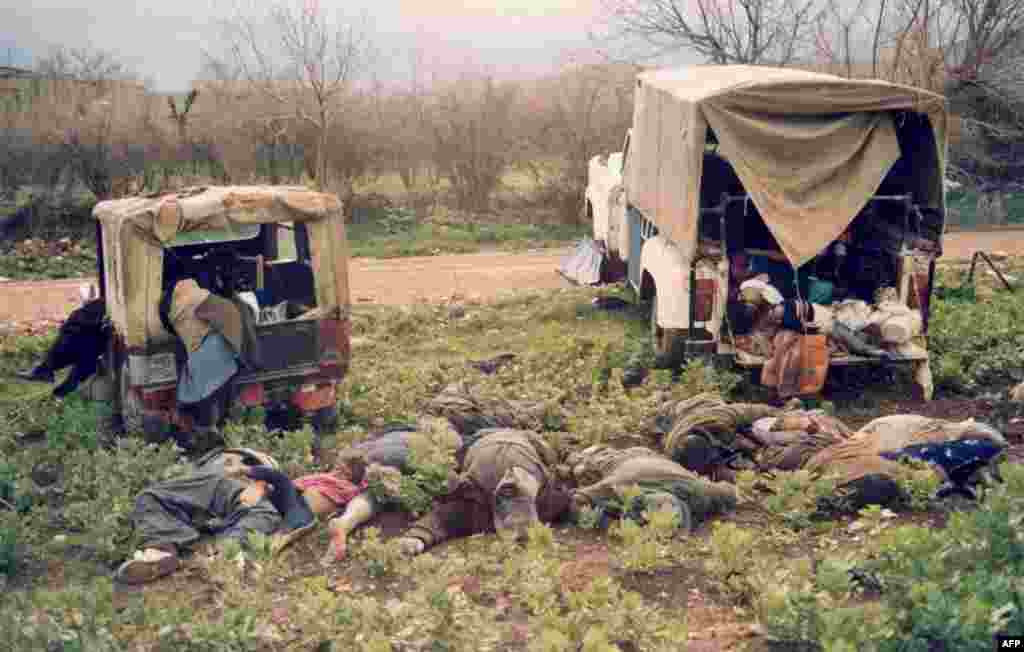 Kurds killed during an Iraqi chemical-weapons attack in the northeastern Iraqi city of Halabja on March 16, 1988. (official Iranian news agency IRNA)
