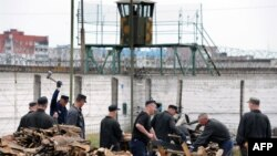 Just another day at the mill? Inmates chop wood at Belarus's largest prison, in Bobruiisk.