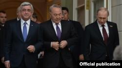 Հայաստանի, Ռուսաստանի և Ղազախստանի նախագահները Եվրասիական տնտեսական բարձրագույն խորհրդի հանդիպման ժամանակ, Մոսկվա, 8-ը մայիսի, 2015թ․