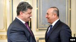 Президент Украины Петр Порошенко и министр иностранных дел Турции Мевлют Чавушоглу, Киев, 10 ноября 2014 года.